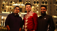 IndieVisuals team members Jibran Zuberi and Waseem Mirza with Fawad Khan 436 x 260